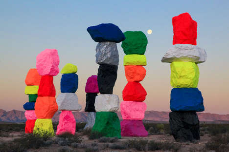 Vibrant Rock Installations - Ugo Rondinone Creates a Bold Scene in the Middle of the Desert