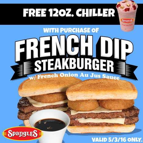 Meaty French Dip Sandwiches - The New French Dip Steakburger is Made for Those with a Big Appetite