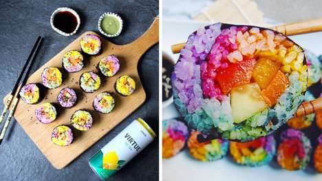 Rainbow Sushi Recipes - This Colorful Japanese Dish Uses Natural Flavors to Dye the Rice