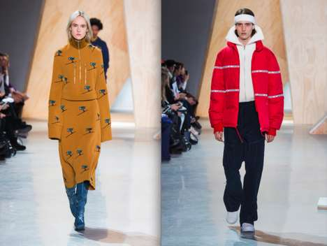 Futuristic Apres Ski Activewear - The LACOSTE FW16 Runway Collection is Inspired by Ski Chalet Chic