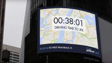 Real-Time Travel Billboards - This Airline Ad from JetBlue Reveals Real-Time Travel Data