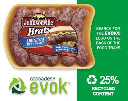 Recycled Sausage Packaging - The Johnsonville Sausage Foam Trays will Feature 25% Recycled Material