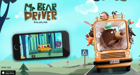 Real-Time Driving Games - In a Moving Car, 'Mr. Bear Driver' Teaches Kids to Follow Traffic Rules