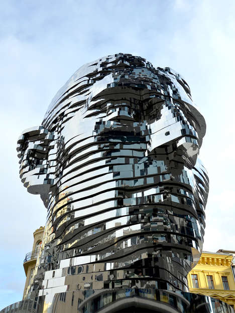 Rotating Literary Busts - This Sculpture of Franz Kafka is Constructed from 42 Rotational Pieces