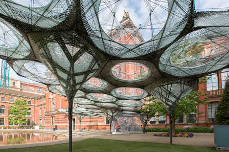 Carbon-Fibre Pavilions - The V&A Museum Courtyard is Constructed Using Robotic Weaving