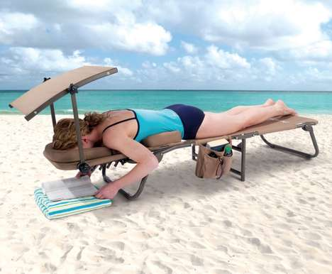Sun Protection Beach Chairs - The Ergonomic Removable Shade Beach Lounger Keeps You Comfy