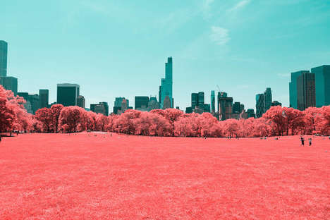 Infrared Skyline Photography - These Pink New York Landscapes Were Created by an Italian Designer