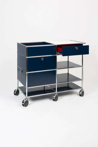 Stealth Office Bar Carts - The USM Modular Drawer System That Can be Used as a Concealed Buffet