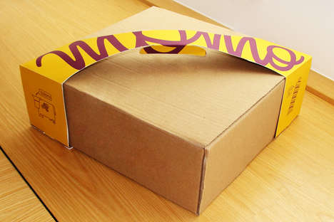 Branded Handle Pie Packaging - The Momo Gelato Pie Box Strap Enhances the Portability of the Design