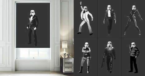 Geeky Galactic Shades - Stormtroopers as Iconic Movie Characters Digitally Printed onto Blinds