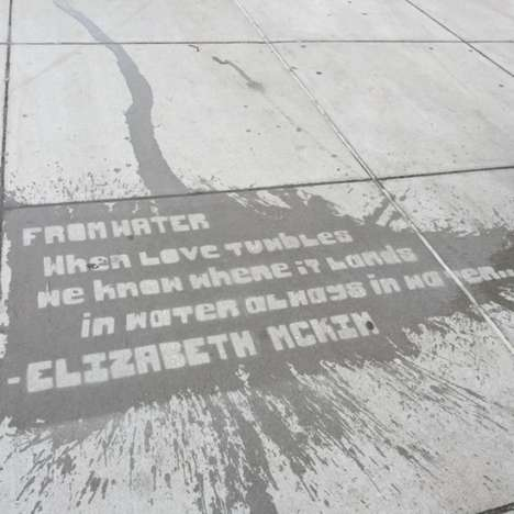Rain-Revealing Sidewalk Art - Raining Poetry by Mass Poetry Hides Beautiful Words on Boston Streets