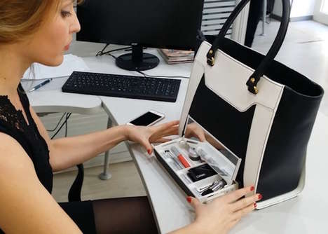 Cosmetic Drawer Handbags - 'GINIK' Italian Handbags Feature a Smart Drawer for Makeup and More