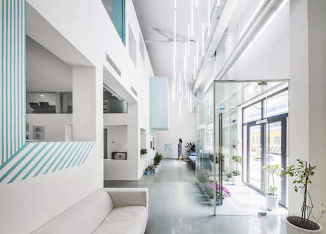 Fresh Botanical Offices - The Beijing-Based MAT Office Boasts a White and Blue Interior with Plants