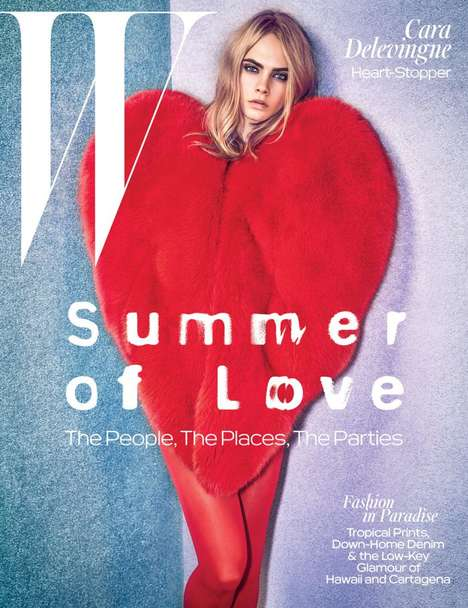 Heart-Shaped Fashion - Cara Delevingne Strikingly Covers the W Magazine Summer of Love Issue