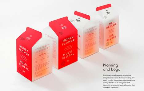 Milk Carton Honey Branding - These Endearing Honey Packages Take a Minimalist Approach