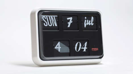Typographic Analog Clocks - The 'Font Clock' Rotates Through 12 Fonts Using a Flip Mechanism