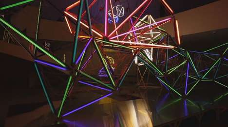 Luminescent Web Sculptures - The Niemeyer Center Showcases Carlos Corona's Geometric Light Designs