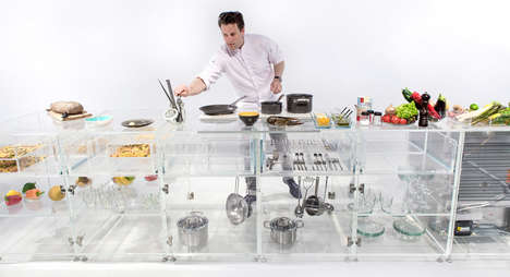 Health-Encouraging Transprent Kitchens - MVRDV's Infinity Kitchenette Clear Design Displays Food