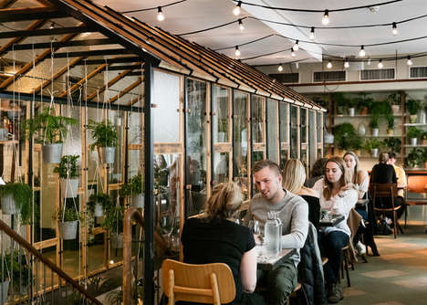 Indoor Restaurant Greenhouses - This Restaurant Has an Indoor Greenhouse and Uses Recycled Materials