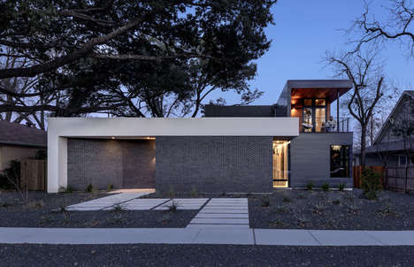 Entertainment-Friendly Homes - This Modern Home Features a Masonry Wall in Lieu of a Fence