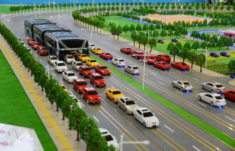 Road-Straddling Buses - The Elevated Transit Bus Would Glide Overtop of Beijing Traffic Jams