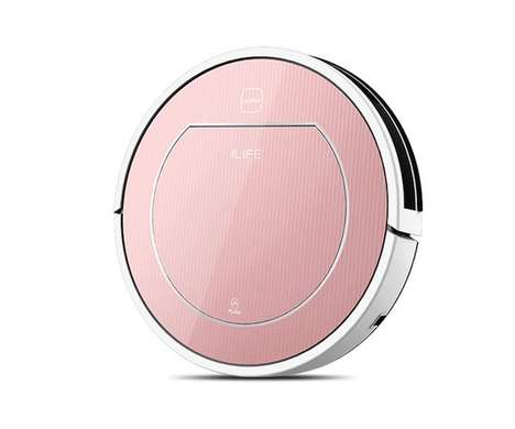 Autonomous Rose Gold Vacuums - The ILIFE V7S Robotic Vacuum Cleaners are Powerful on All Surfaces