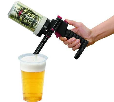 Beer-Dispensing Guns - The Beer Hour Foamy Head Beer Can Dispenser Provides Perfect Pours