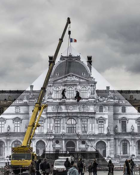 Illusionary Museum Installations - Artist JR Visually Hides the Louvre Using Photograph Prints
