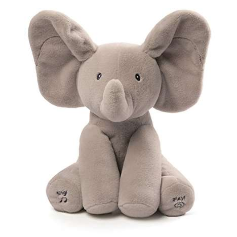 Robotic Baby Plush Toys - The GUND Flappy the Elephant Stuffed Toy Plays Peek-a-Boo with Infants