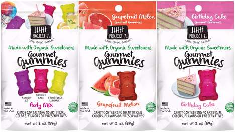 Flavor-Focused Candy Branding - The Project 7 Gourmet Gummies Candy Pouches are Less Color-Focused