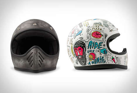 Antiquated Illustrative Helmets - The DMD Vintage Motorbike Helmets Boast Drawings From the 70s