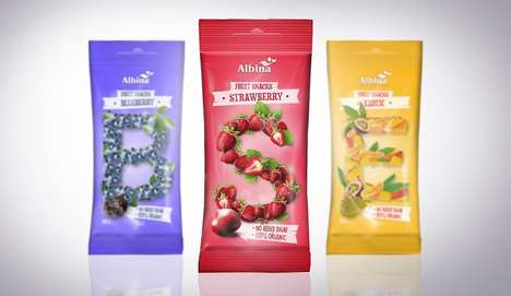 Alphabetic Candy Packaging - The Albina Snacks Wrappers Show the Natural Ingredients Using Letters
