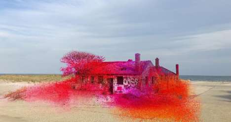 Spray Painted Abandoned Homes - Katharina Grosse Converts Deserted Beach Abodes into Vibrant Artwork