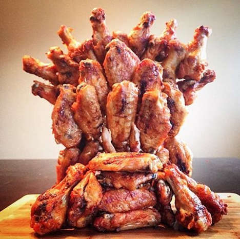 Fantasy Poultry Thrones - This Game of Thrones Iron Throne Replica is Remade Using Chicken Wings