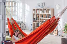 The Flora Family Hammock is Easily Suspended Inside the Home