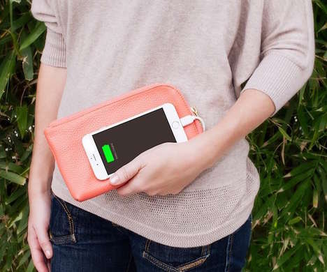 Smartphone-Charging Clutches - The Clutchette Power Charging Clutch Purse is Made from Vegan Leather