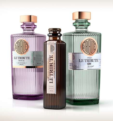 Art Deco Alcohol Packaging - The LE TRIBUTE Cocktail Bottle Designs are Contemporary and Classic