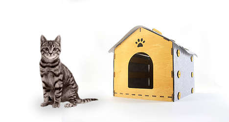 Flatpack Feline Kennels - This DIY Cat Kennel House is Assembled from Wood and Felt