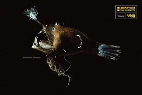 Aquatic Journalism Branding - This Ad Shows the Ugliness of the Truth Using Deep Sea Fish
