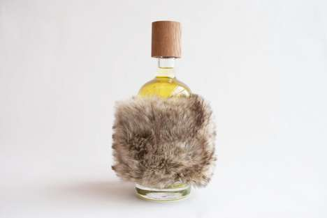 Fur-Wrapped Gin Bottles - The Little Dipper Design Repurposes Used Object for a Cozy Detail