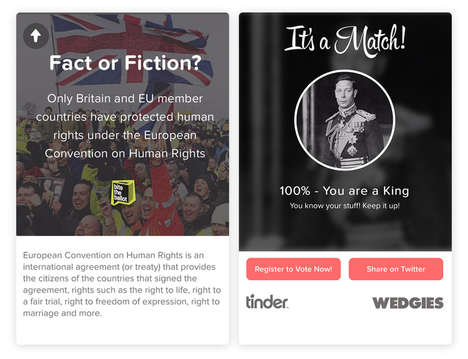 "Swipe-Based Political Campaigns - This Tinder Initiative Explains ""Brexit"" Before the EU Referendum"