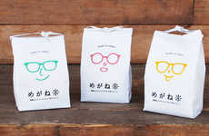 Smiling Spectacle Rice Packaging - The Meganemai Rice Brand Focuses on Packaging with Eyeglasses