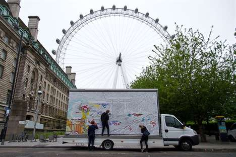 Coloring Book Billboards - This Roving Kabuto Noodles Billboard Inspires Calm in the City of London