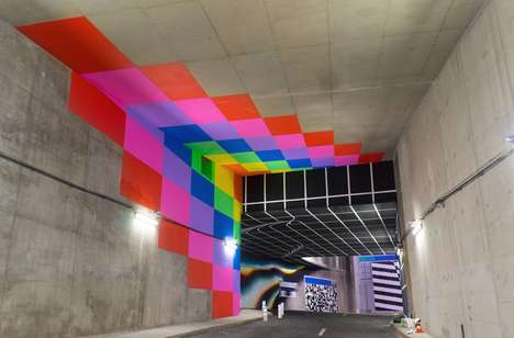 Graphic Tunnel Art - The Lasco Project Features Graphic Street Art Thanks to a Group Effort