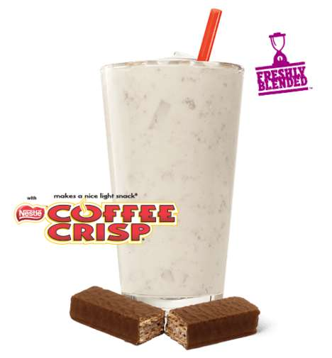 Chocolate Bar-Flavored Milkshakes - The New Coffee Crisp Shake is Made with an Iconic Candy Bar