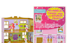 Cardboard Dollhouse Kits - This Dollar Store Playset Includes a House, Characters and Stickers