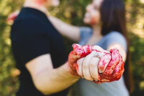 Murder-Themed Marriage Photos - This Engagement Photo Shoot Takes 'Til Death Do Us Part' Literally