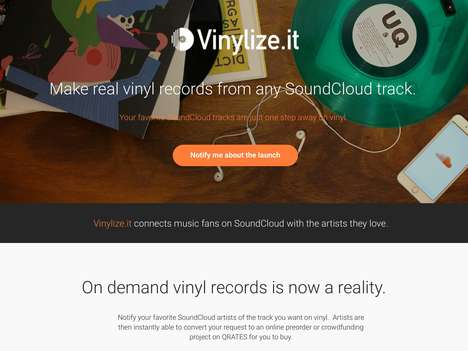 Vinyl Digital Music Services - 'Vinylize.it' Turns SoundCloud Tracks into Vinyl Pressings