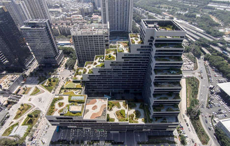 "Landscaped Rooftop Terraces - The Shenye TaiRan Building Boasts Stunning ""Secret"" Gardens"
