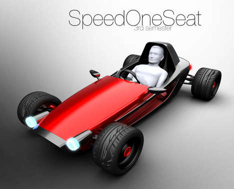 Single-Person Urban Cars - The 'SpeedOneSeat' Concept Vehicle is Designed for Racing and Cities